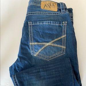 Axel athletic dark wash blue jeans stretch 36x32